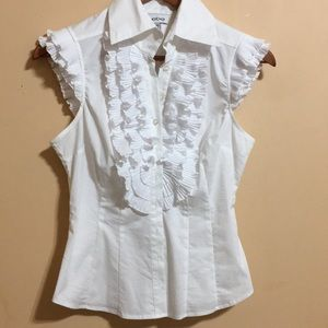 Bebe white ruffled top